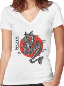 Gyarados Japan Brush Stroke Women's Fitted V-Neck T-Shirt