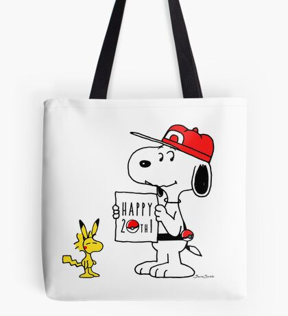 Pokemon 20th featuring Snoopy and Woodstock Tote Bag