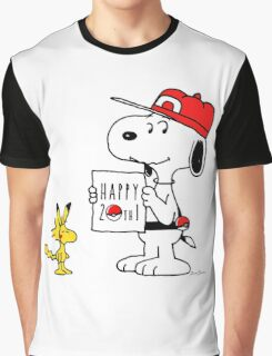 Pokemon 20th featuring Snoopy and Woodstock Graphic T-Shirt