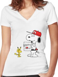 Pokemon 20th featuring Snoopy and Woodstock Women's Fitted V-Neck T-Shirt