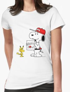Pokemon 20th featuring Snoopy and Woodstock Womens Fitted T-Shirt