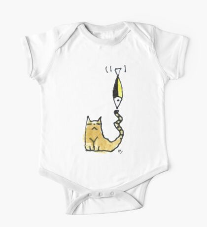Cat Juggeling with Fish One Piece - Short Sleeve