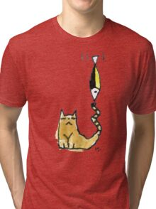 Cat Juggeling with Fish Tri-blend T-Shirt