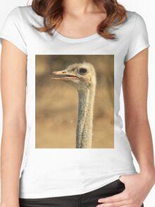 Ostrich Profile - African Wild Bird Backgrounds - Wild Neck Women's Fitted Scoop T-Shirt
