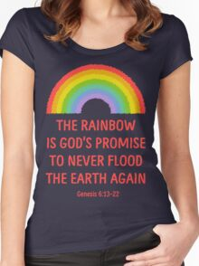 Rainbow God's Promise Genesis 6:13-22 T Shirt Women's Fitted Scoop T-Shirt