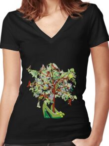 Shoe Tree Women's Fitted V-Neck T-Shirt