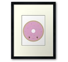 Kawaii Donut with Frosting and Sprinkles Framed Print