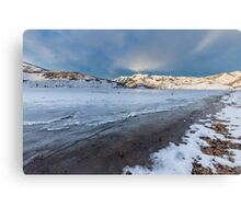 Frozen Lake with mountains  Canvas Print
