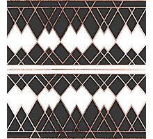 Modern Chic Rose Gold Black and White Triangles Photographic Print