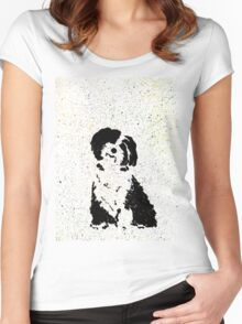 Black and White Pup Women's Fitted Scoop T-Shirt