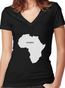 COMPTON AFRICA KENDRICK LAMAR GRAMMY Women's Fitted V-Neck T-Shirt