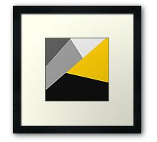 Simple Modern Gray Yellow and Black Geo Framed Print