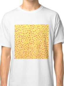 Coral Yellow and White Abstract Triangles Pattern Classic T-Shirt