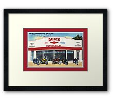 Fifties classic motorcycles dealership Fort Worth Texas Framed Print