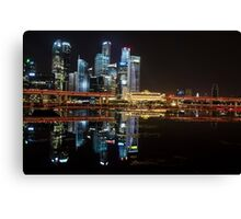 Singapore: Fullerton Hotel and Finance Centre Skyline Canvas Print