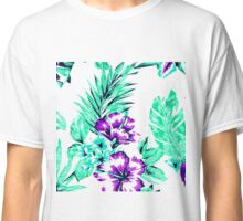 Vibrant Abstract Purple and Teal Tropical Flowers Classic T-Shirt