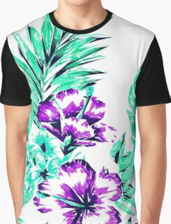 Vibrant Abstract Purple and Teal Tropical Flowers Graphic T-Shirt