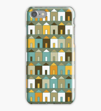 Beach Huts - Teal & Mustard iPhone Case/Skin