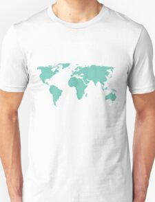 Simple Teal World map T-Shirt