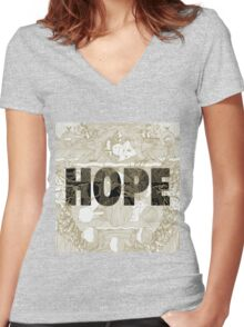 """""""Hope"""" by Manchester Orchestra Women's Fitted V-Neck T-Shirt"""