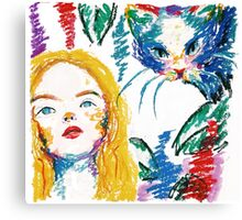 alice and the cat Canvas Print