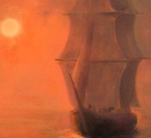 Ship at Sunset Sticker