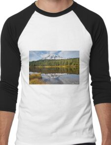 Mount Rainier and Reflection Lakes in the Fall Men's Baseball ¾ T-Shirt