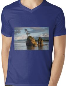 Lone Tree on a Rock at Sunset Mens V-Neck T-Shirt