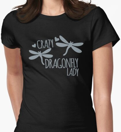 Crazy Dragonfly Lady Womens Fitted T-Shirt