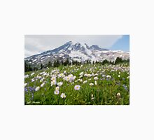 Mount Rainier and a Meadow of Aster Unisex T-Shirt