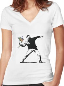 Flower Thrower - Banksy Women's Fitted V-Neck T-Shirt