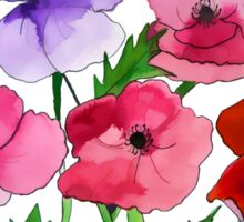 Poppies Amapolas Hand-painted Watercolor Sticker