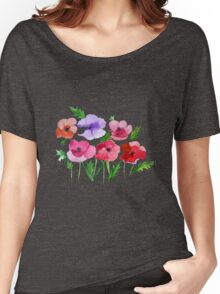 Poppies Amapolas Hand-painted Watercolor Women's Relaxed Fit T-Shirt