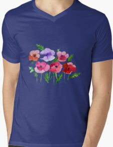 Poppies Amapolas Hand-painted Watercolor Mens V-Neck T-Shirt