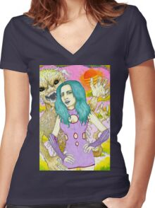 Space Girl and the planet of the dune devils Women's Fitted V-Neck T-Shirt