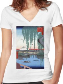 Utagawa Hiroshige Yatsumi Bridge Women's Fitted V-Neck T-Shirt