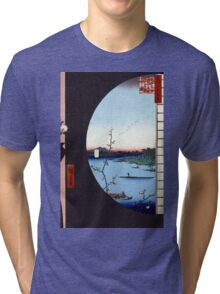 Hiroshige View From Massaki of Suijin Shrine, Uchigawa Inlet, and Sekiya Tri-blend T-Shirt