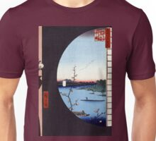 Hiroshige View From Massaki of Suijin Shrine, Uchigawa Inlet, and Sekiya Unisex T-Shirt