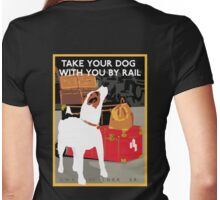Vintage Travel Dog and Train Poster Womens Fitted T-Shirt