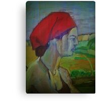 Woman with red headband  Canvas Print