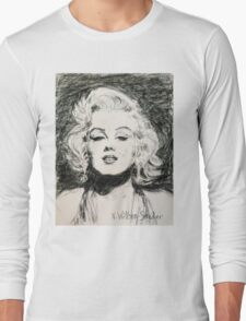 Marilyn, Black and White Long Sleeve T-Shirt