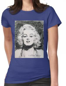 Marilyn, Black and White Womens Fitted T-Shirt