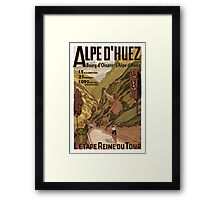 Vintage French sponsored Swiss Alps sport bicycle tour advert Framed Print