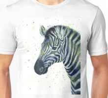 Zebra Watercolor Blue Green Unisex T-Shirt