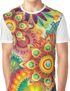 Psychedelic Flower Design Graphic T-Shirt
