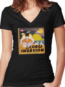 Corgi Invasion - Oregon Beach Day Women's Fitted V-Neck T-Shirt