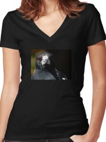 Magpie Stare Women's Fitted V-Neck T-Shirt