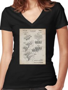 Lego Toy Blocks US Patent Art Women's Fitted V-Neck T-Shirt