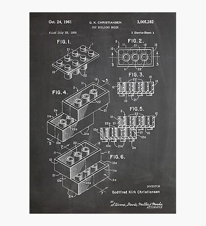 LEGO Construction Toy Blocks US Patent Art blackboard Photographic Print