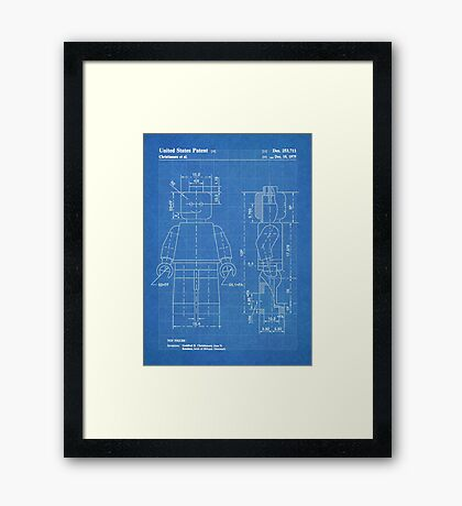 LEGO Minifigure US Patent Art Mini Figure blueprint Framed Print